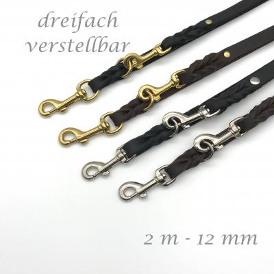 Correa de cuero trenzado 12 mm - 2 m 3 veces ajustable