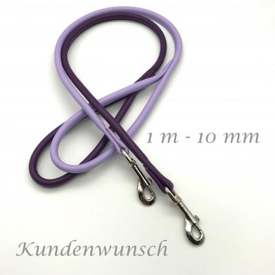 Round leather leash wish - pink - purple tones