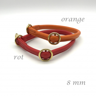 Round Leather Lasso Collar with Slide Stop Wish - Red Tones