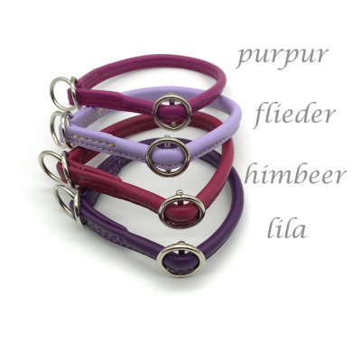 Round leather lasso collar with slide stop wish - pink - purple tones