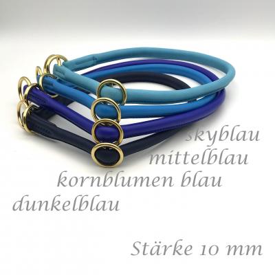 Rundleder Lasso Halsband mit Schiebestopp Wunsch - blau Töne