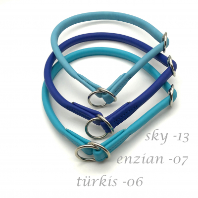 Round Leather Lasso Collar with Slide Stop Desired Colour - blue tones