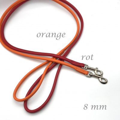 Round leather leash wish - red tones