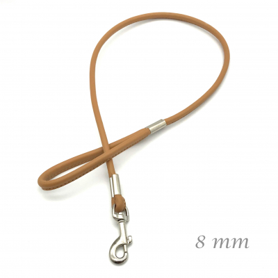Round leather leash for show light brown - 8 mm chrome stapled