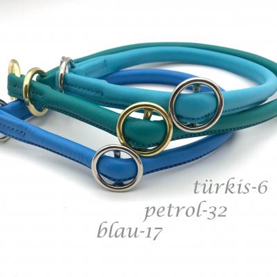 Cuello de lazo de cuero redondo con deseo de parada deslizante - tonos azules