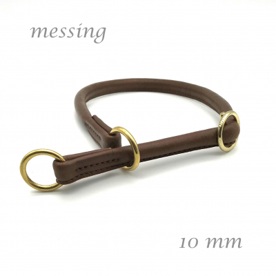 Round Leather Lasso Collar with Sliding Stop various shades of brown