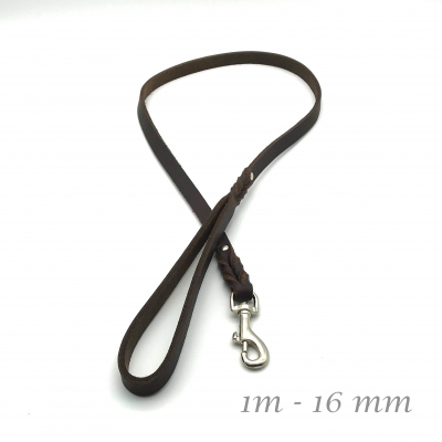 Leather leash braided 16 mm - 1 m