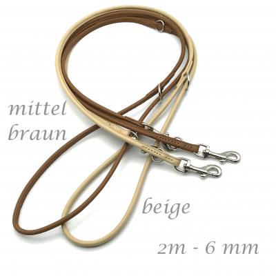 Round leather leash various shades of brown