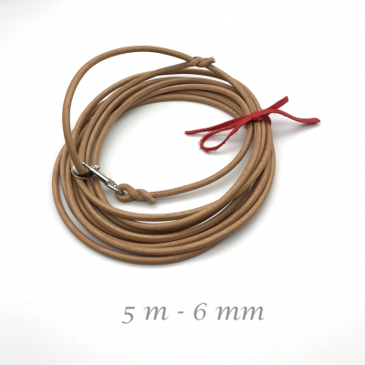 Core leather search line natural - drag line 5 m - 6 mm