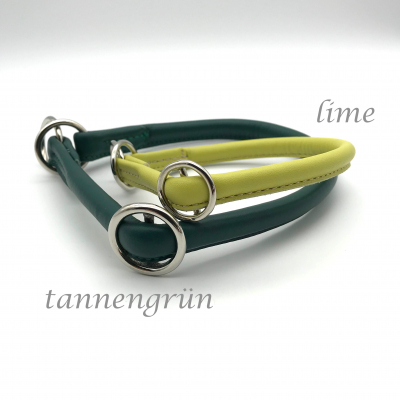 Round Leather Lasso Collar with Slide Stop Desired Colour - Green - Yellow Tones