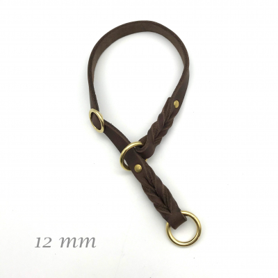 Leather Lasso Collar standard with stop adjustable 12 mm wide