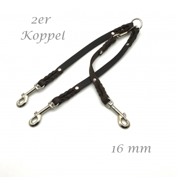 Lead grease leather 40 cm long 16 mm wide for2-3 dogs.